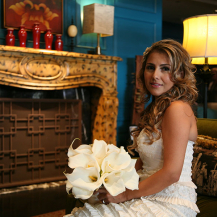 Bride at Fireplace